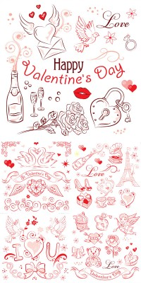 Hand painted Valentine element material