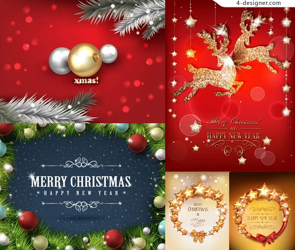 Hanging Christmas ball with reindeer ornaments creative vector material