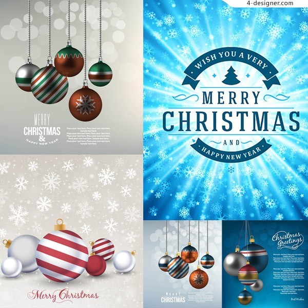 Hanging Christmas ball with winter snowflake background vector material
