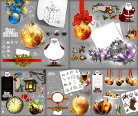 Hanging ball with Santa Claus and other Christmas theme vector material Free Download