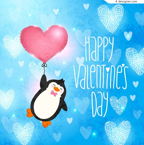 Heart shaped balloon with penguin vector material