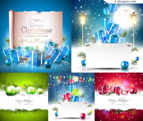 Lob and gift boxes Christmas theme vector material