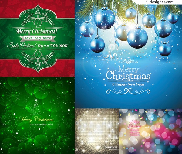 4 Designer Lob Pine Branches And Christmas Background