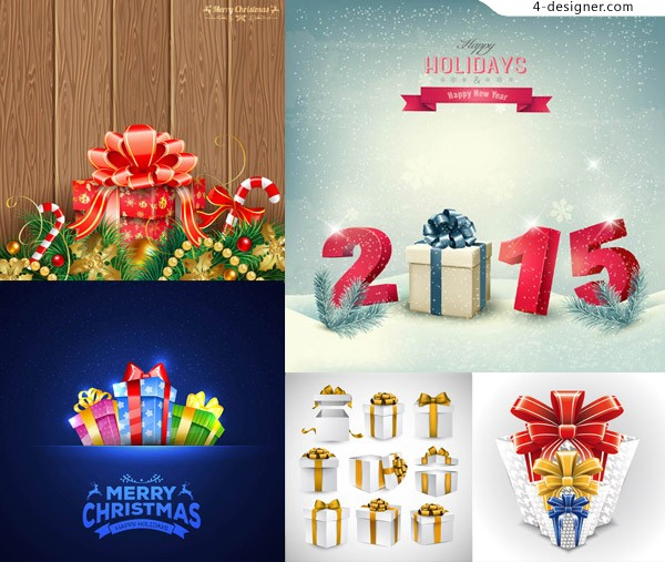 Pine boughs and Christmas gift packaging vector material download
