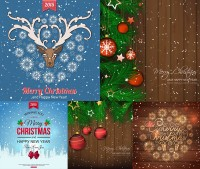 Pine boughs and Christmas lob vector material free download on the board