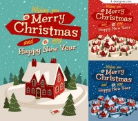 Playful Christmas vector illustration material