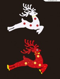 Red Deer white Christmas decoration free download