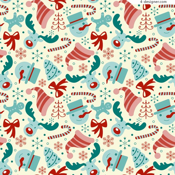 Retro Christmas element seamless background vector material