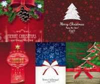 Ribbon bow and Christmas patterns and other vector material Free Download