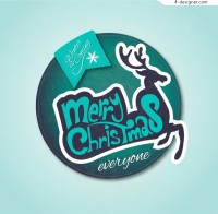 Round Christmas reindeer label free download