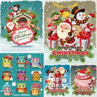 Santa with cute cartoon owl vector material Free Download