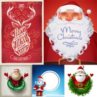Santa with text and other creative pattern vector material Free Download