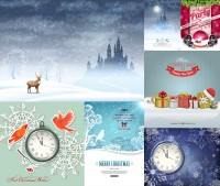Snowflake pattern background with a gift box creative vector material