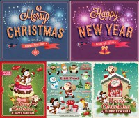 Snowman and Santa Claus and other New Year theme vector material free download