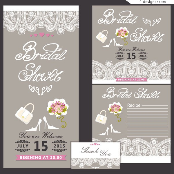 White lace wedding invitation card vector material