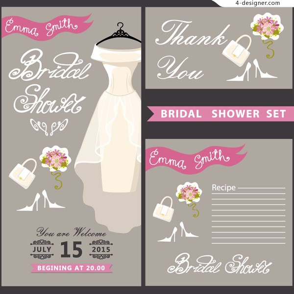 White wedding wedding invitation card vector material