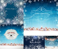 Winter snow and snowflake patterns and other design vector material