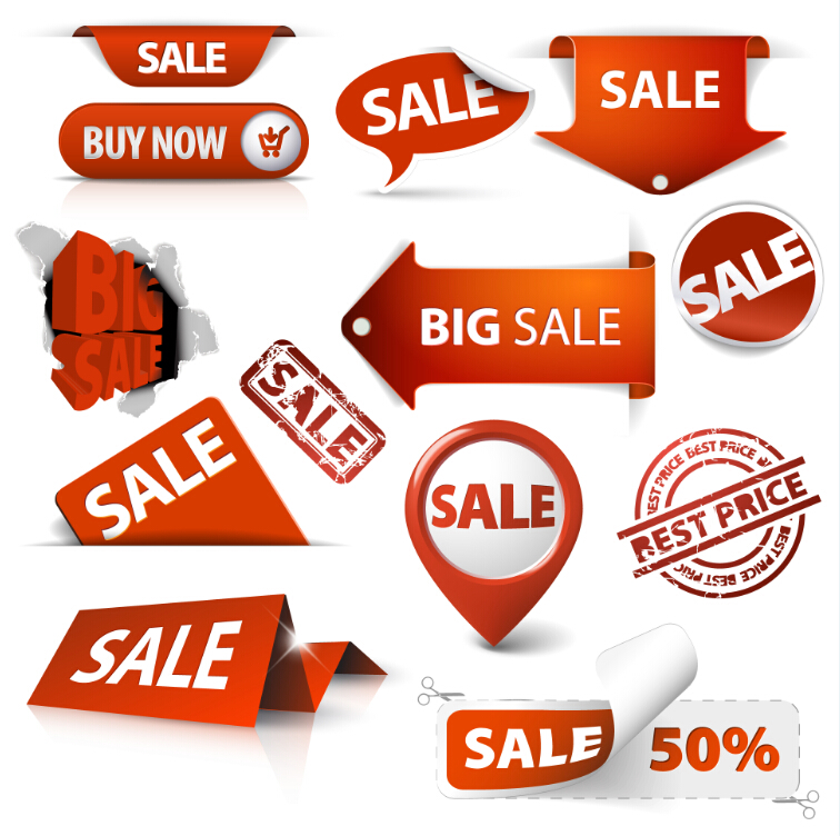 Colorful store sales tag vector material