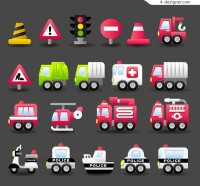 Fire truck police car icon
