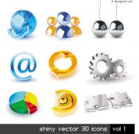 01 3D icon set vector material
