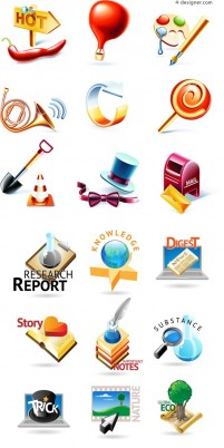 3D 3D life icon vector material