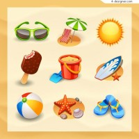 Beautiful beach supplies icon vector material