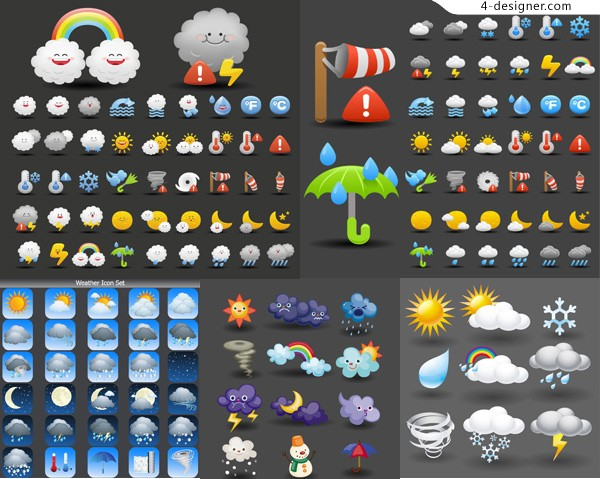 Cartoon weather icon vector material