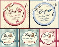 Classic cute tag vector material