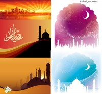 Color building scenery silhouette vector material