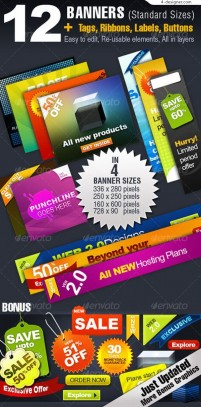 Color labels and banner vector material