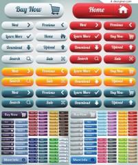 Colorful web buttons vector material