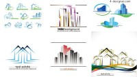 Commercial buildings LOGO vector material