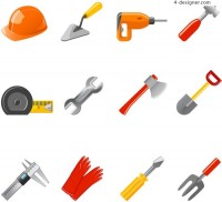 Construction tool icon vector material