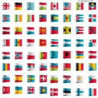 Countries flags tag vector material
