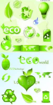 Eco friendly icon vector material