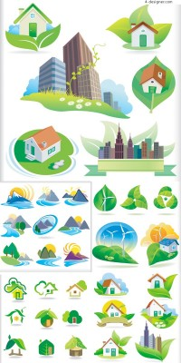 Ecological icon vector material