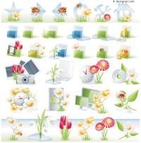 Exquisite pattern icon vector material