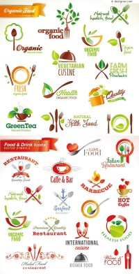 Food and drink icons vector material