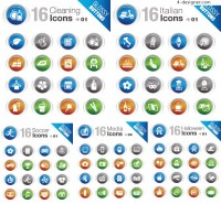 Glossy button icons vector material