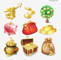 Gold icons vector material