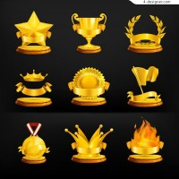Gold medal icon vector material