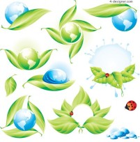 Green ecology icon vector material