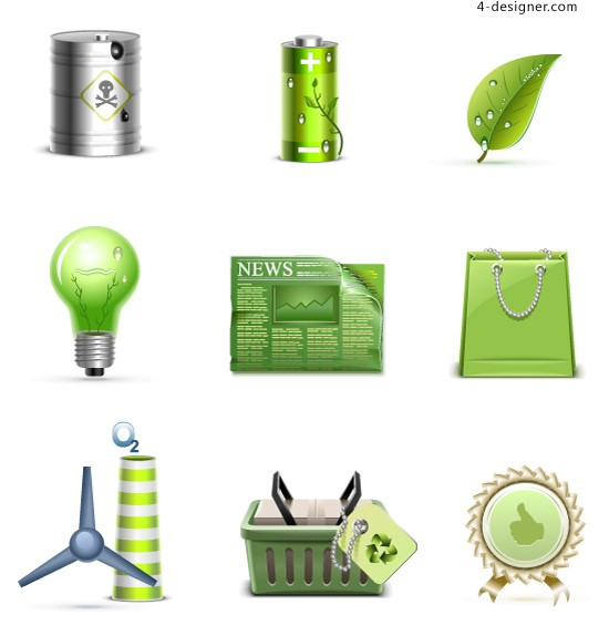 Green energy icon vector material