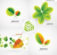 Green leaf creative background vector material