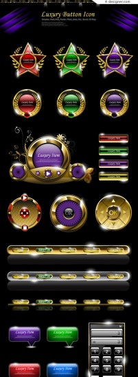 Luxurious web buttons vector material