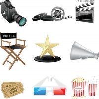 Movie related elements vector material