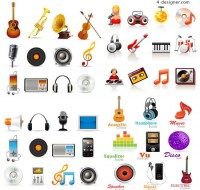 Musical elements icon vector material