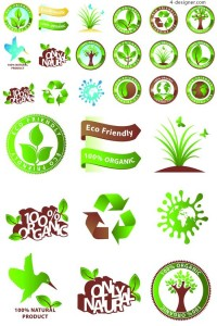 Organic and natural product icon vector material