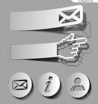 Paper cut promotional gesture tag vector material