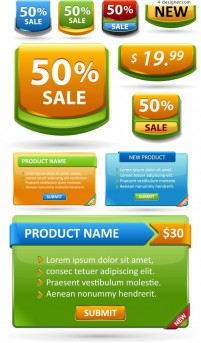 Sales tab page vector material